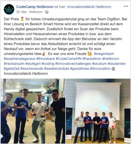 Facebook-Beitrag des CodeCamps zu unserem Team. Foto: Schwarz Dienstleistung KG