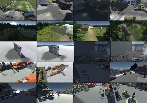 Masterarbeit - Verschiedene Szenen und darin Kameraperspektiven der Simulation, z.B. Solarpark, Innenhof, See, Marktplatz